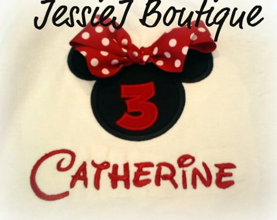 Personalized Minnie Mouse Birthday Shirt with Red Polka Dot Ribbon