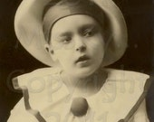 Vintage  photo Contemplative Clown DIGITAL download