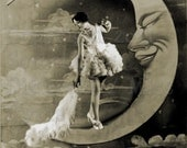 Dusting The Moon, Lovely lady,Paper Moon  Vintage Image, digital download
