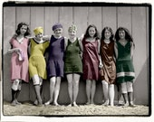 Colorful  Bathing Beauties,  Swimmer vintage photo,photograph digital download