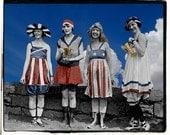 Patriotic, Flapper Bathing Beauties,  Swimmer vintage photo digital download