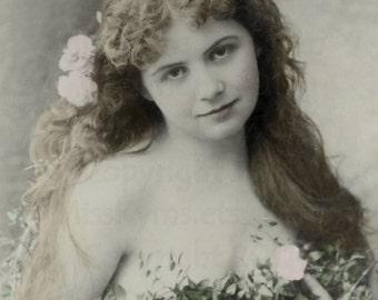 Garden Fairy Like Woman vintage photo digital download