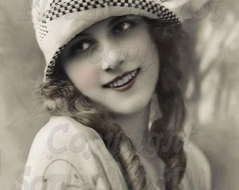 Flapper, Beautiful  Woman vintage photo digital download