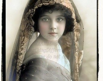 Veiled Sweetheart, Beautiful Child, Vintage Photo, digital download