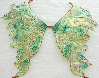 Ooak Fairy Wings-Iridescent-Green Day - For Dolls, Bears (Made by Request)