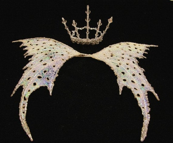 Fairy Wings-Silver Wings & Crown-OOAK (Made To Order by Request)