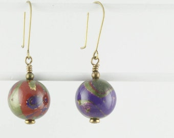 Earrings Red, Purple, Greens, Gold Jewel Tones