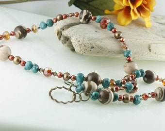 Necklace No Clasp Antique Brass and Turquoise