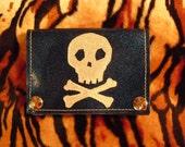 Blue metal flake skull wallet