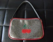Silver metal flake cherries purse