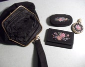 Lovely Retro Vintage Black Embroidery Wristlet Purse with matching accessories