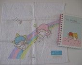 Vintage Sanrio Little Twin Stars small towel(1976)  , Little Twin Stars notebook(2006)