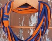 Infinity Scarf - Tie Dye Navy Blue & Bright Orange
