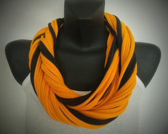 Infinity Scarf  - Gold and Black Color, Extra Thick