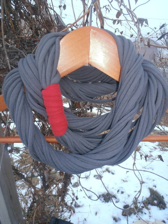 "Infinity Scarf - Pewter Grey Color - Approx. 28"" - with red band"