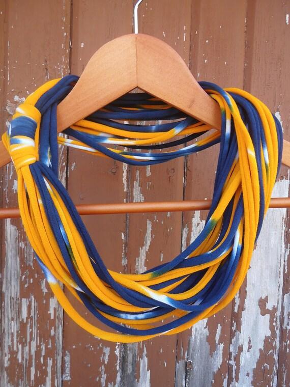 Infinity Scarf - Tie Dye Navy Blue & Dandelion