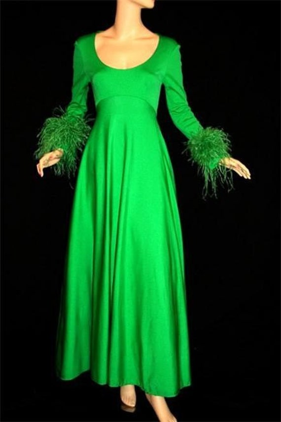 New Year COUPON SALE - Lillie Rubin Green Feather Evening Dress