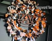RESERVED listinf for mcclainmorse - Auburn Rag Wreath with Metal Logo