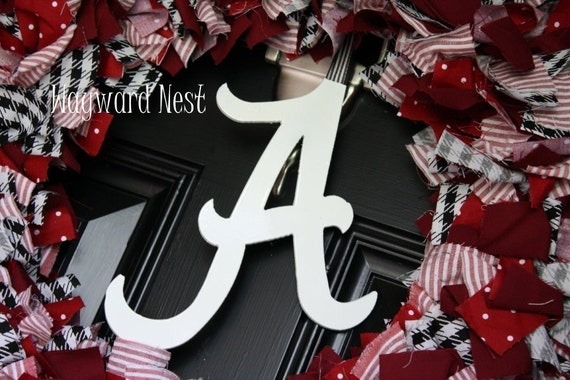Alabama Rag Wreath with Metal Script A Logo