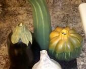 Beautiful set of PorcelainPottery Vegetables. Eggplant, Zucchini, Garlic, and Squash.