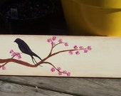 Family Name SIGN Original Bird Cherry Blossom Painting Name Distressed primitive Rules Handmade 6x36 Hand-painted Wooden WHAGN