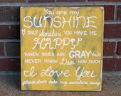 CUSTOM for Tracy You are my Sunshine SIGN Subway Distressed Yellow Handmade Hand-painted Wooden 8x8 WHAGN Made to Order