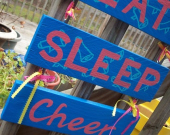 CHEER Decor SIGN Eat SleepTrio Triple Stacked Hanging Hand-painted Handmade Wood Pink Blue Yellow WHAGN