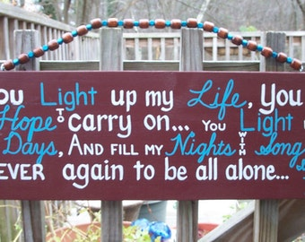 Light up My Life SIGN Subway Distressed Handmade Hand-painted Wooden Mahogany Turquoise WHAGN