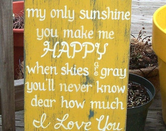You are my Sunshine SIGN Subway Distressed Yellow Handmade Hand-painted Wooden 12x24 WHAGN Made to Order