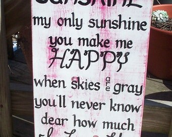 You are my Sunshine SIGN Subway Distressed Pink White Handmade Hand-painted Wooden 12x24 WHAGN Made to Order