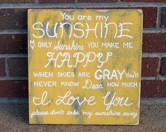 You are my Sunshine SIGN Subway Distressed Yellow Handmade Hand-painted Wooden 12x12 WHAGN Made to Order