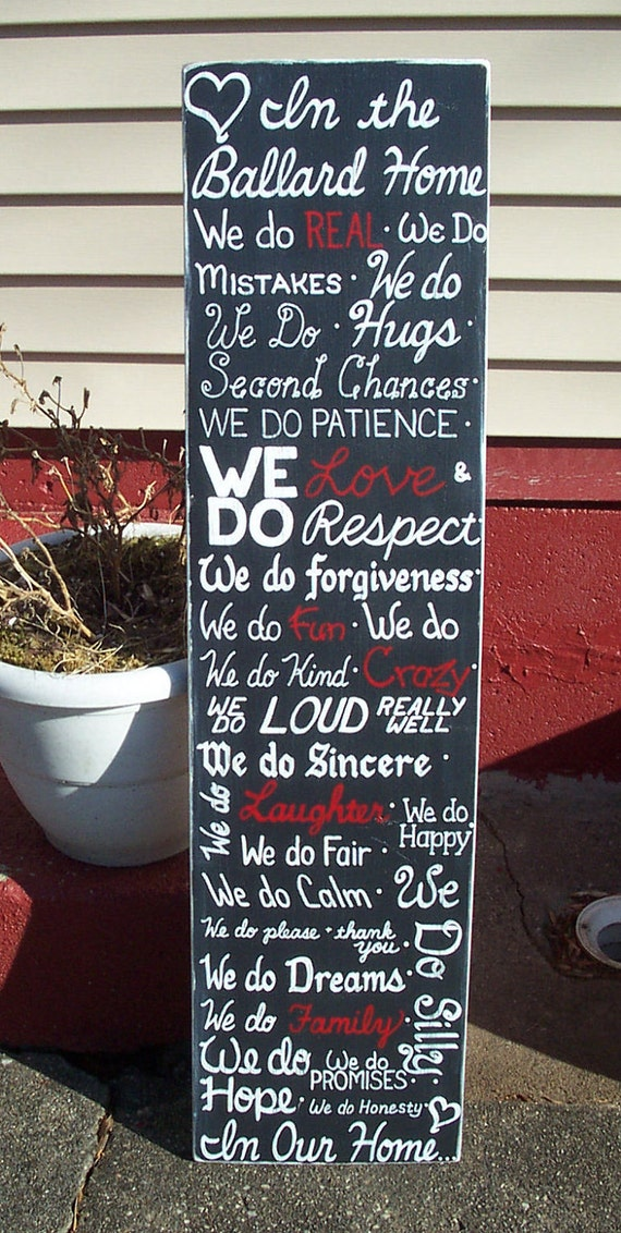 In Our Home SIGN Subway Custom Accent Colors Distressed primitive family Rules Handmade Hand-painted Wooden 12x28 WHAGN Made to Order