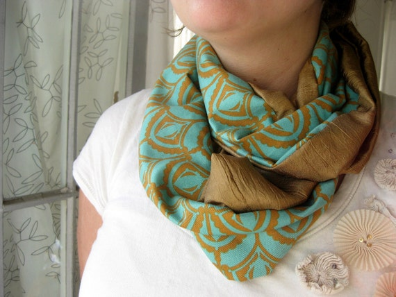 Reserved for Faith or Darlene: Faatina Teal and Gold Infinity Scarf