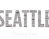 Seattle in words art print poster wall decor