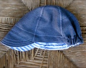 Custom Order for Amy--Toddler Cycling Cap Hat--Reversible Grey and Blue and white stripes--Size 1-2 yrs