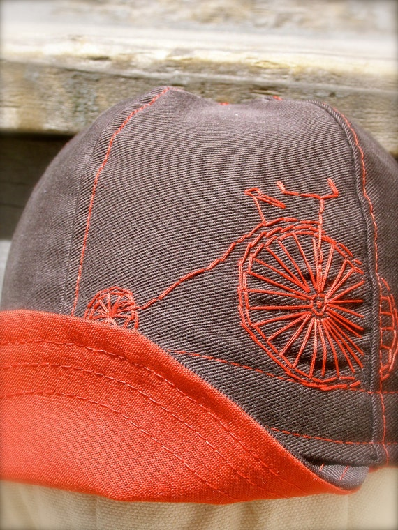 Red Hot Penny Farthing baby sized reversible cycling cap upcycled brown canvas and red cotton