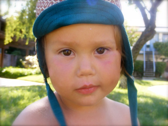 Toddler hat--CYCLING CAP w/ ear flaps--reversible--upcycled teal corduroy and retro peacock geometric print--size 1-2 years