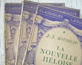 Bundle of Three Vintage French Book Pages from Classic French Writers Published by Larousse Paris - afarmhouseinfrance