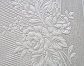 Vintage French Wallpaper Sample Sheet Silky Embossed peaches and cream roses for paper projects