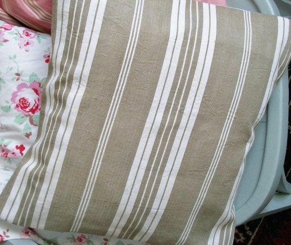 Antique French Fabric Pillow Slip Striped Natural Sandy Taupe 1930s French Ticking Cushion Cover