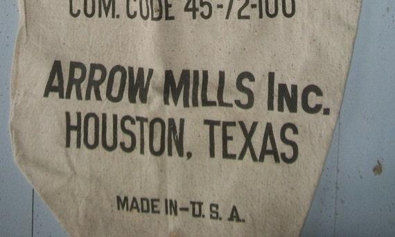 Vintage USA Grain Sack Wheat Flour Bag Stamped Arrowmills Texas