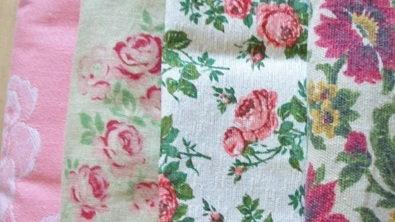 "Bundle of Vintage French 1930's Mixed French Pink Roses Fabric Pieces Scrap 10"" Blocks"