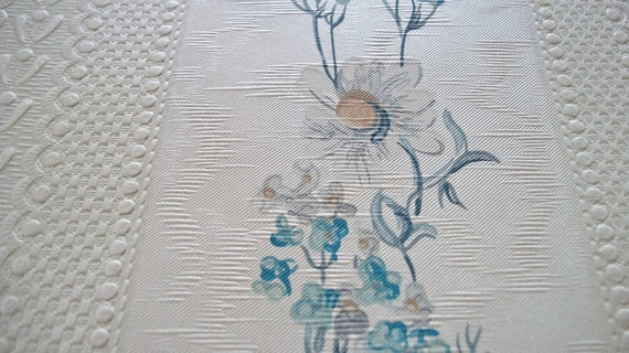 Vintage French Wallpaper Sample Sheet Silky Embossed Daisies for paper projects