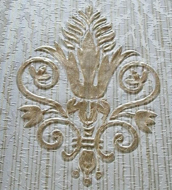 Vintage french wallpaper sample sheet gold embossed fleur de for Old french wallpaper