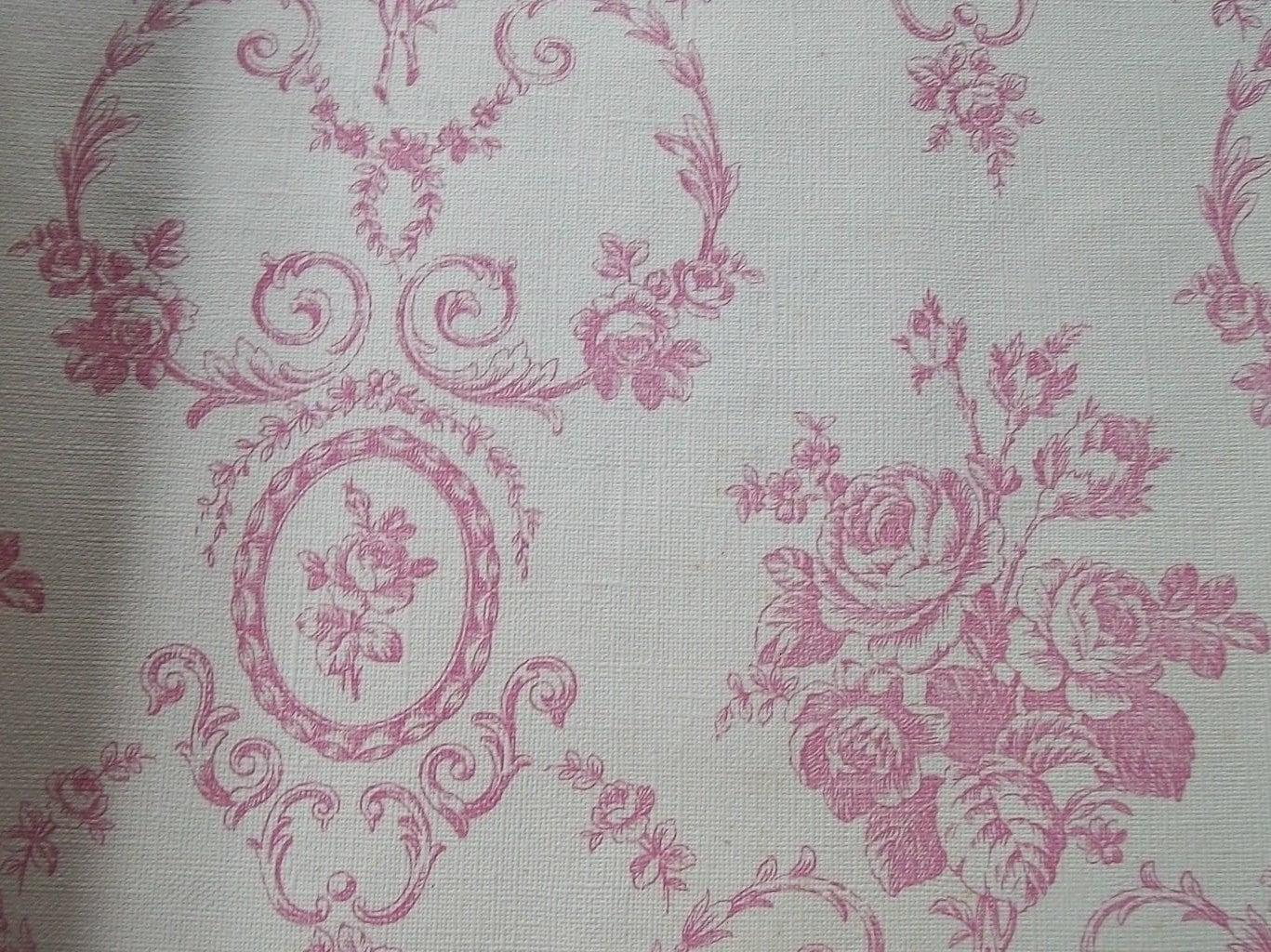 Vintage french wallpaper sample sheet pink roses for paper for Old french wallpaper