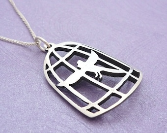 Cardinal in Cage Handmade Sterling silver Pendant