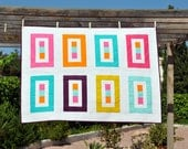Modern Quilt Throw or Playing Mat Floating Colors 8 - ready to ship