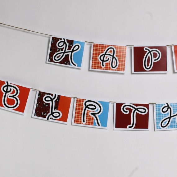 Happy Birthday Banner from the Cowboy Cool DIY Printable Party Collection by Spaceships and Laser Beams