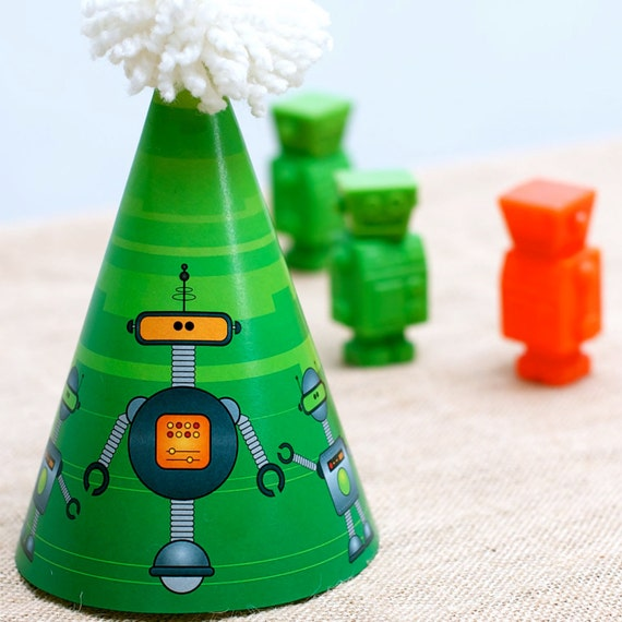 Children's Party Hat from the Robots Rule DIY Printable Birthday Party Collection by Spaceships and Laser Beams