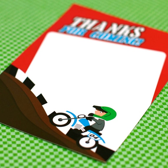 Custom Thank You Card from the Xtreme Awesomeness Dirt Bike DIY Printable Birthday Party Collection by Spaceships and Laser Beams